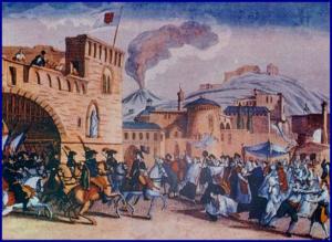 Battaglia di Procchio - l'immagine del periodo che ritrae l'esercito francese mentre entra a Napoli il 23 gennaio 1799.