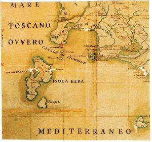Battaglia di Procchio - carta del Principato di Piombino nel 1760